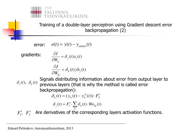Training of a double-layer perceptron using