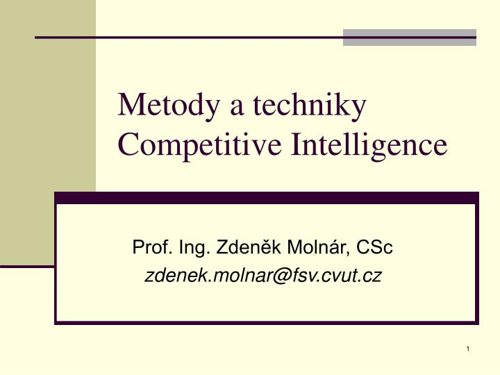 metody a techniky competitive intelligence n.