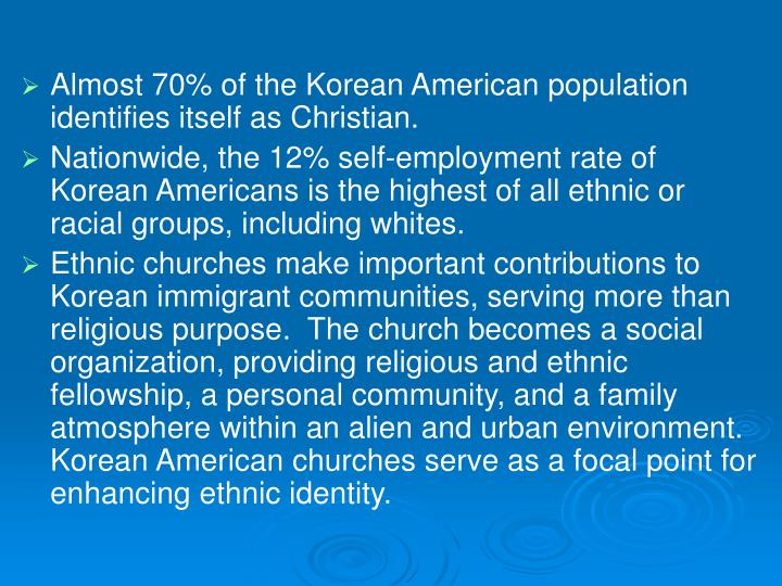 Almost 70% of the Korean American population identifies itself as Christian.