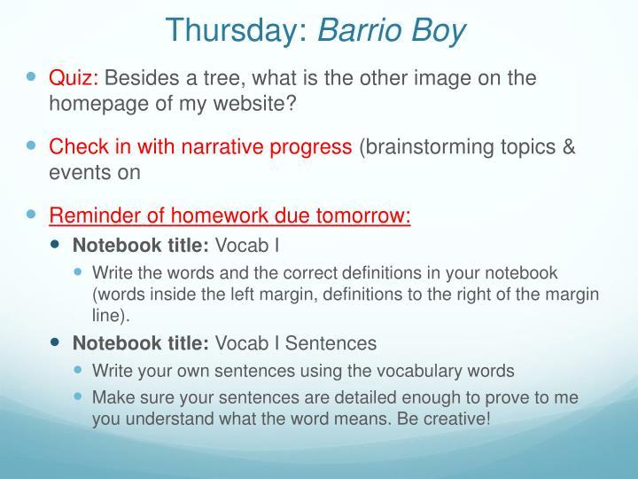 barrio boy 2 essay Barrio boy by ernesto galarza lesson plans and teaching resources - free english learning and teaching resources from varsity tutors.