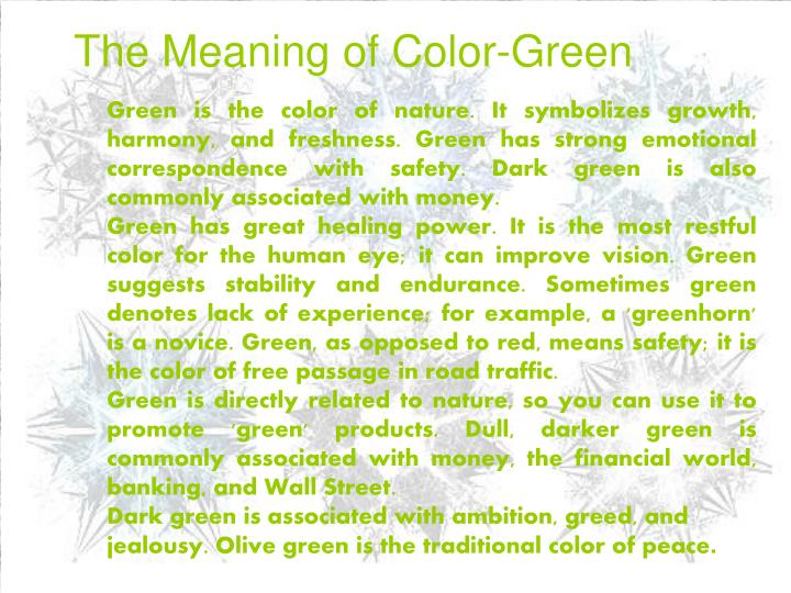 The Meaning of Color-Green