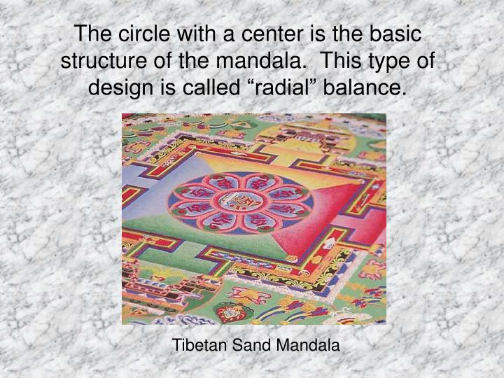 """The circle with a center is the basic structure of the mandala.  This type of design is called """"radial"""" balance."""