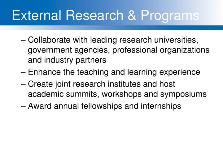 External Research & Programs