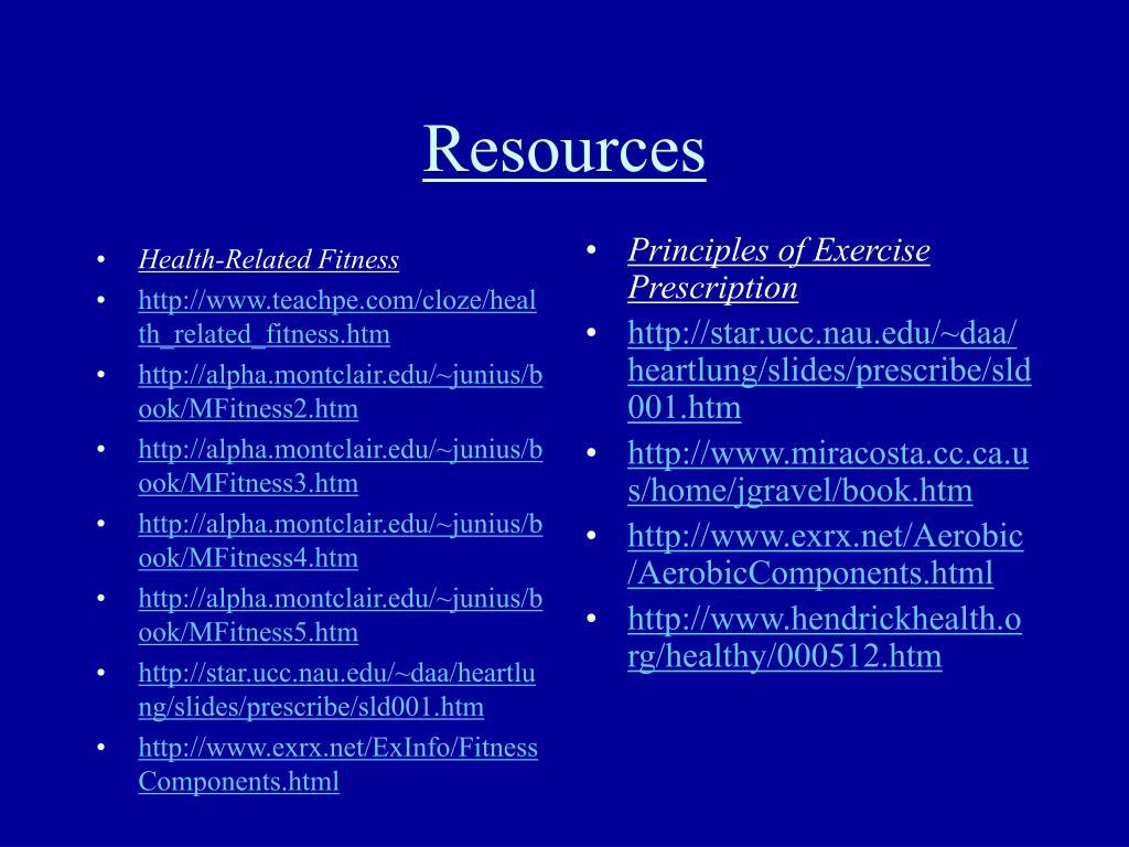 PPT - Personal Exercise Prescription WebQuest PowerPoint
