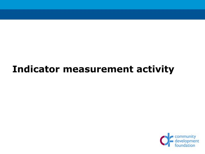 Indicator measurement activity