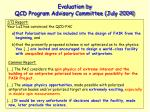 evaluation by qcd program advisory committee july 2004