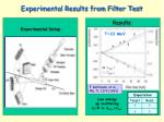 experimental results from filter test
