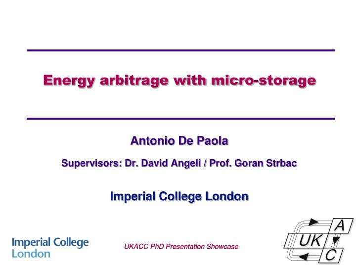 energy arbitrage with micro storage n.