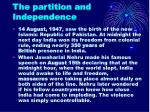 the partition and independence