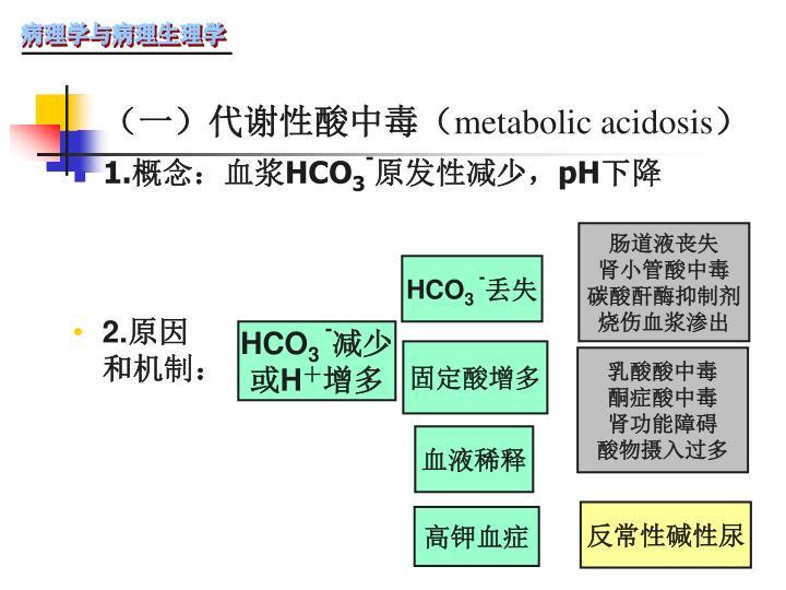 (一)代谢性酸中毒(