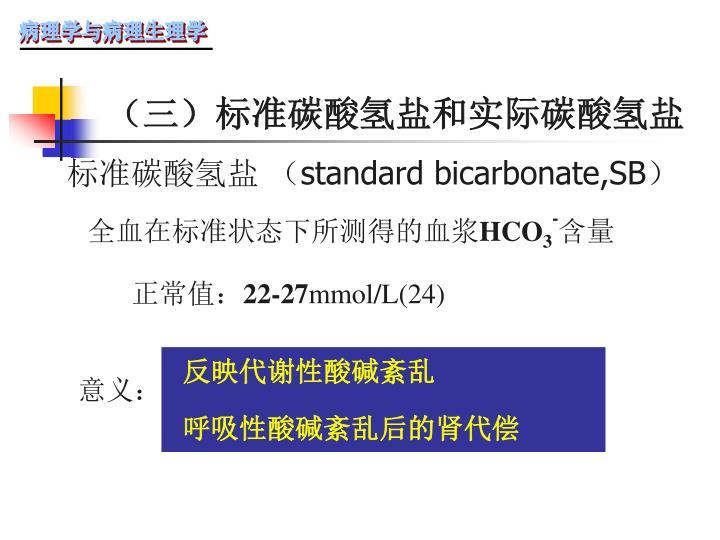 (三)标准碳酸氢盐和实际碳酸氢盐