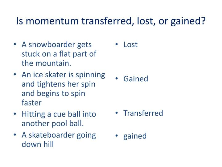 Is momentum transferred, lost, or gained?