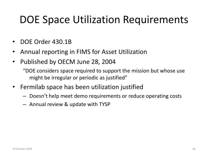 DOE Space Utilization Requirements