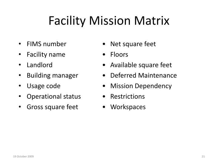 Facility Mission Matrix