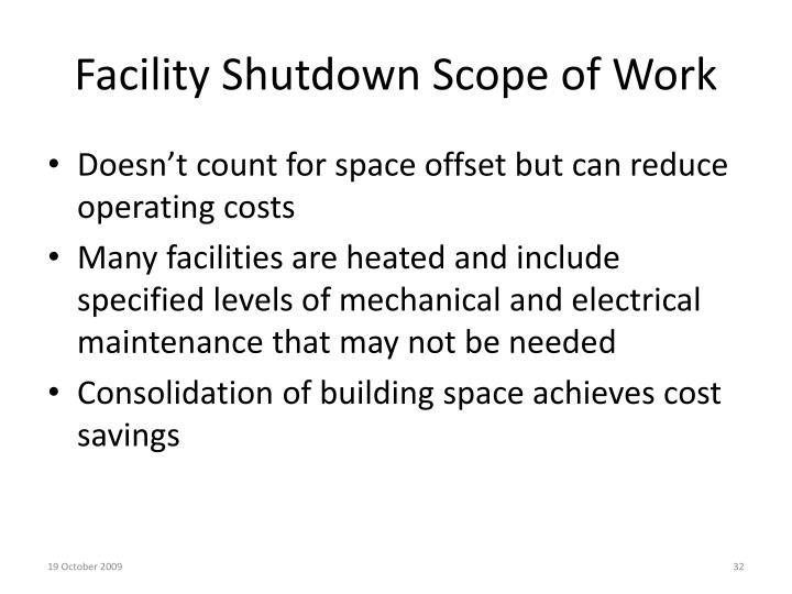 Facility Shutdown Scope of Work