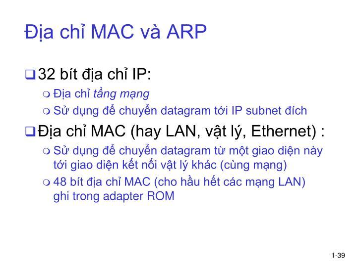 Địa chỉ MAC và ARP