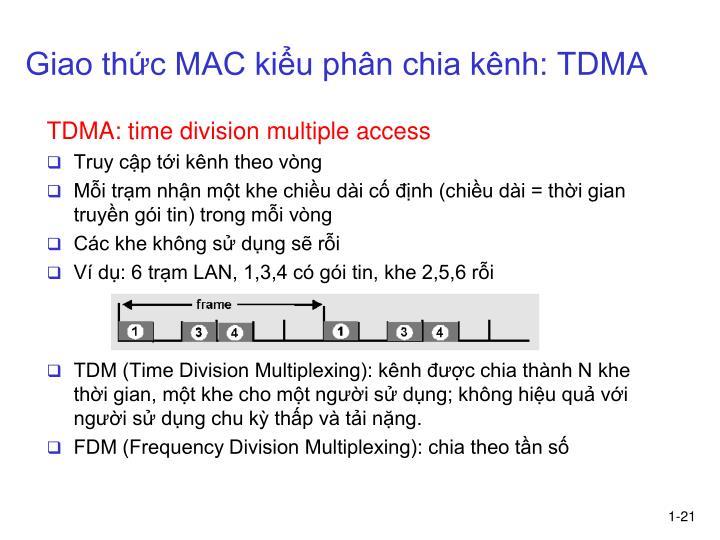 Giao thức MAC kiểu phân chia kênh: TDMA