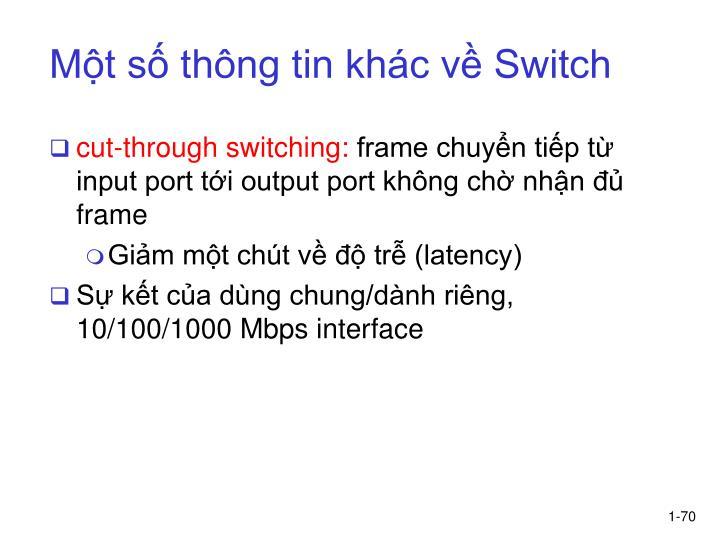 Một số thông tin khác về Switch