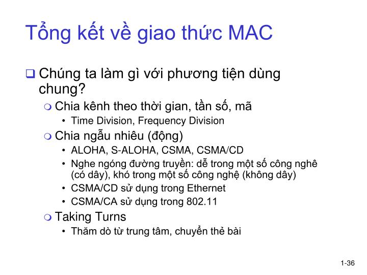 Tổng kết về giao thức MAC