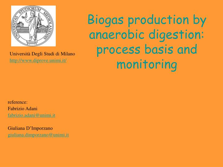 PPT - Biogas production by anaerobic digestion: process