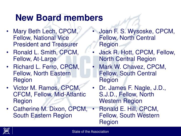 Mary Beth Lech, CPCM, Fellow, National Vice President and Treasurer