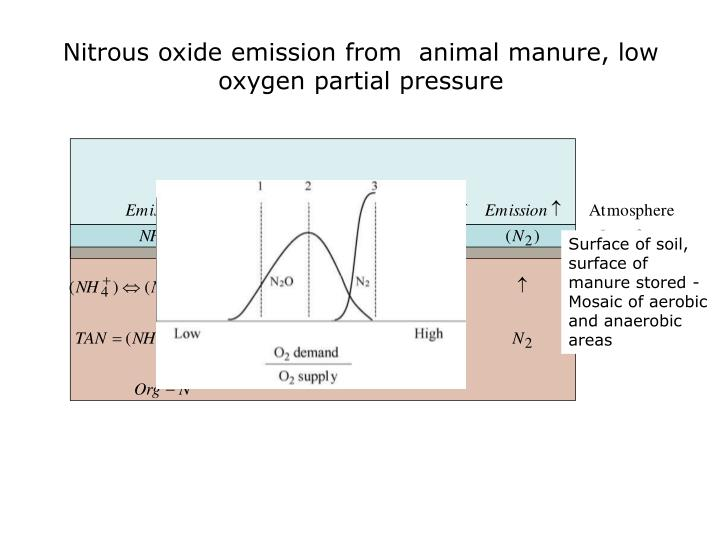 Nitrous oxide emission from  animal manure, low oxygen partial pressure
