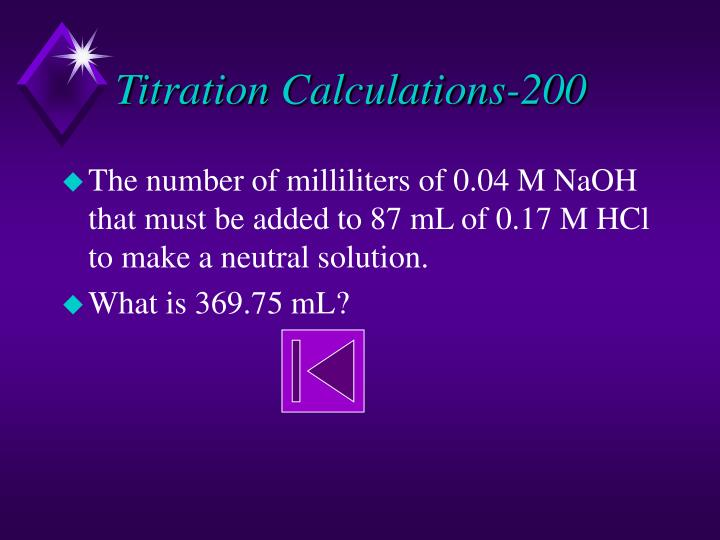 Titration calculations 200