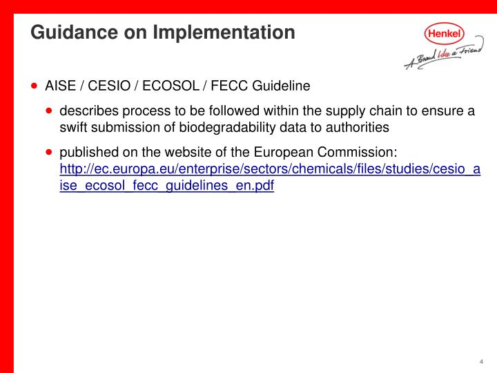 Guidance on Implementation
