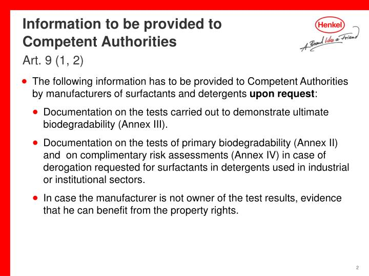 Information to be provided to competent authorities art 9 1 2
