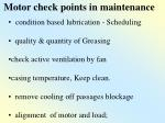 motor check points in maintenance