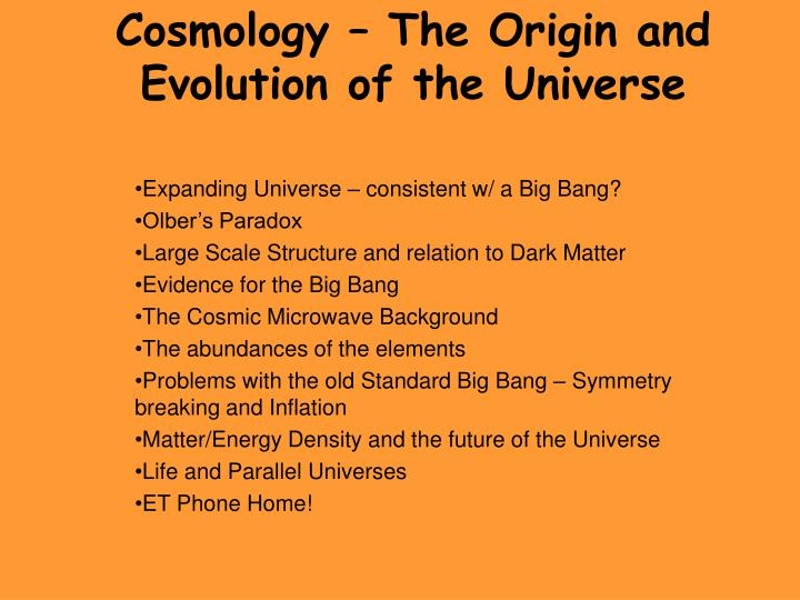 cosmology the origin and evolution of the universe n.