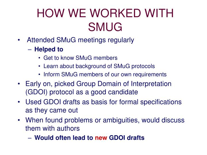 HOW WE WORKED WITH SMUG