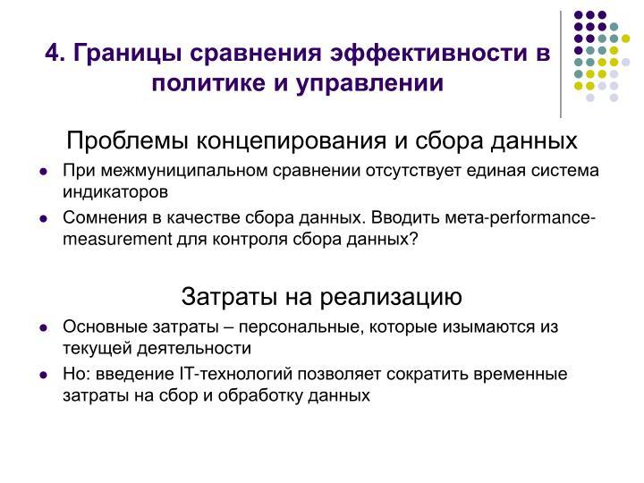 4. Границы сравнения эффективности в политике и управлении