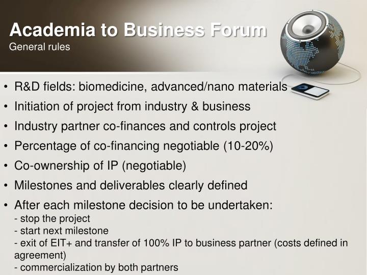 Academia to Business Forum