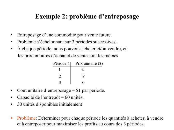 Exemple 2: problème d'entreposage
