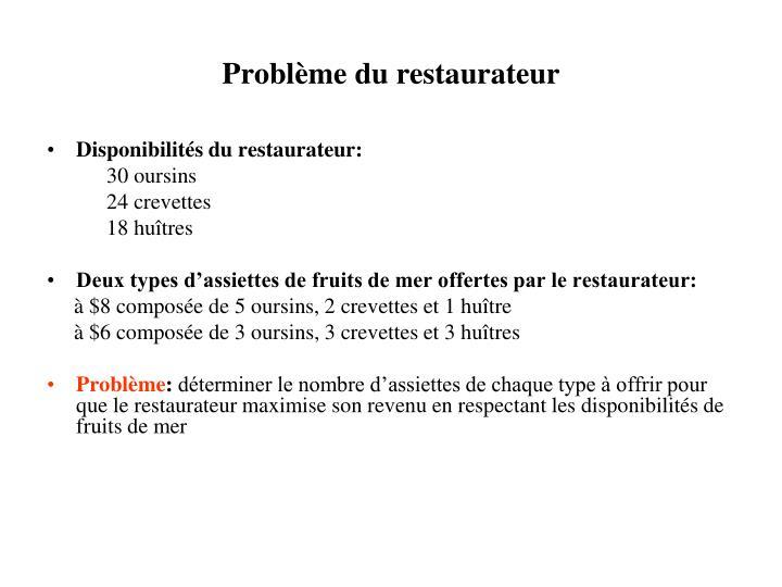 Problème du restaurateur