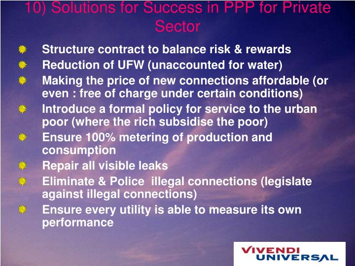 10) Solutions for Success in PPP for Private Sector