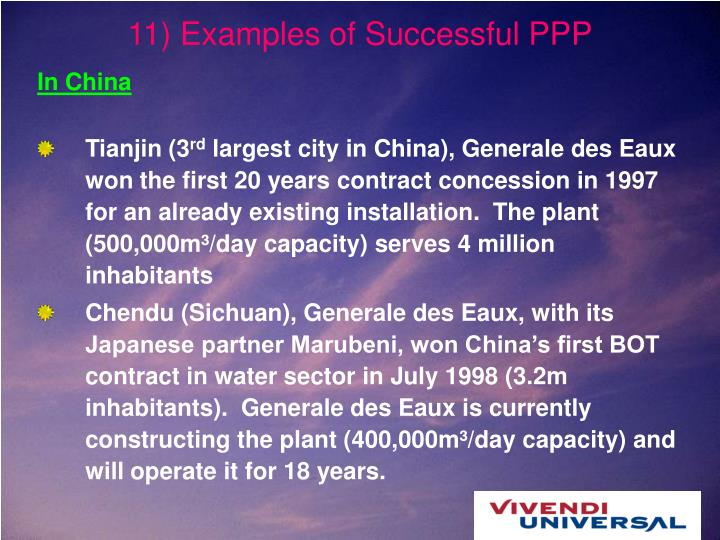 11) Examples of Successful PPP