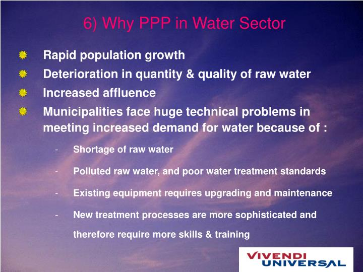 6) Why PPP in Water Sector