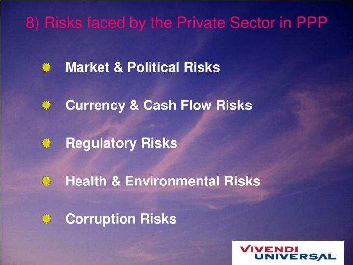 8) Risks faced by the Private Sector in PPP