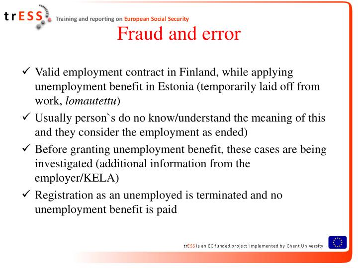 Fraud and error