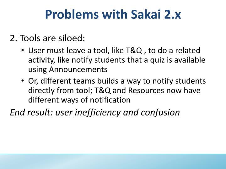 Problems with Sakai 2.x