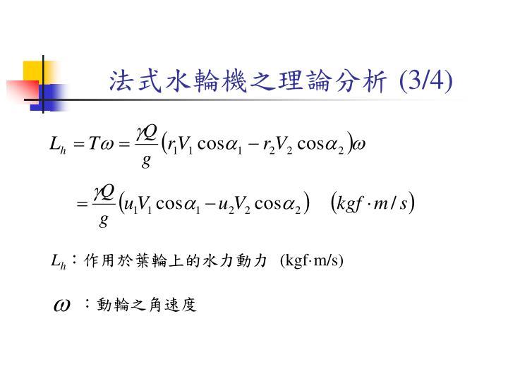 法式水輪機之理論分析