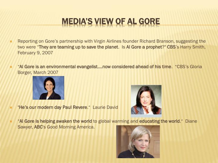 """Reporting on Gore's partnership with Virgin Airlines founder Richard Branson, suggesting the two were """""""