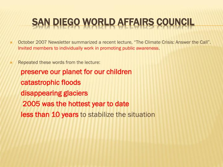 """October 2007 Newsletter summarized a recent lecture, """"The Climate Crisis: Answer the Call""""."""