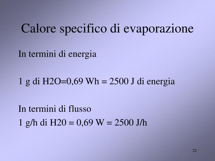 Calore specifico di evaporazione