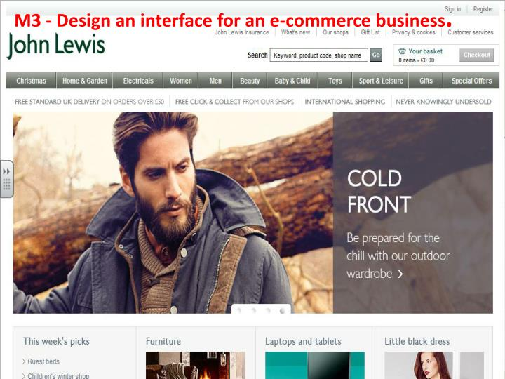 m3 design an interface for an e commerce business n.