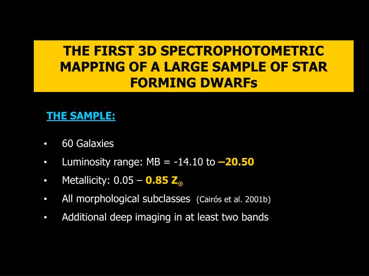 THE FIRST 3D SPECTROPHOTOMETRIC MAPPING OF A LARGE SAMPLE OF STAR FORMING DWARFs