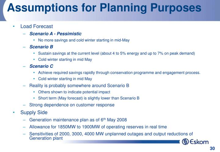 Assumptions for Planning Purposes