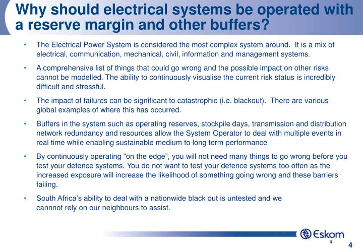 Why should electrical systems be operated with a reserve margin and other buffers?